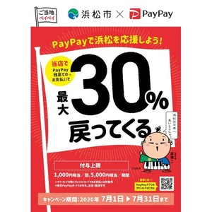 PayPay「がんばれ浜松!対象のお店で最大30%戻ってくるキャンペーン」実施中